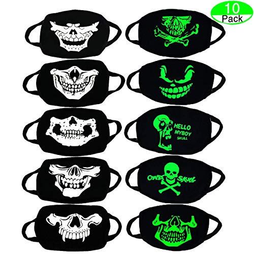 MOLYHUA Baumwolle Mund-Maske, 10 Pack Revel Cool Luminous Teens Gesichtsmaske Cute Teeth Pattern Kpop Maske Waschbar Anti Dust Cotton Halloween Mundmaske für Männer und Frauen