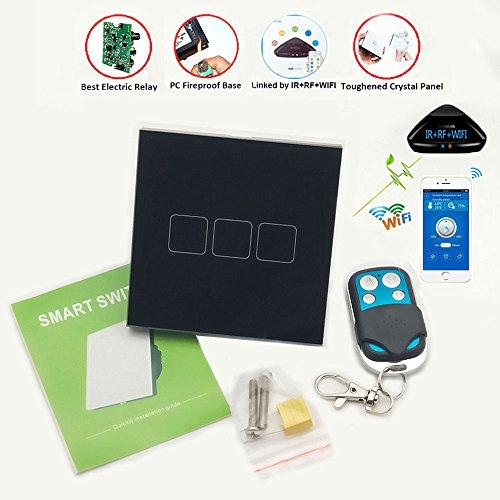 Jadis-Smart Smarter Touchscreen-Wandschalter, schwarz, EU-Standard, mit Fernbedienung und Kristall-Glas-Fläche, benötigt nur  stromführende Leitung, leicht zu erweitern, geeignet für Lichtschalter-Steuerung, kabellos (RF 433,92MHz), Radiofrequenztechnologie