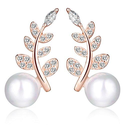 Unendlich U Fashion Blätter Damen Ohrstecker 925 Sterling Silber Zirkonia 6mm Perle Stecker Ohrringe Pearl Earrings, Rose Gold