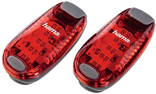 Hama 2er LED-Sicherheitsclip-Set (Batteriebetrieb, Dauerlicht und Blinklicht, ideal für Jogger, Schulkinder, Radfahrer) rot