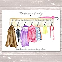 Coat Hook Family Print Personalised Jackets Wall Art Gift for Home A3 or A4