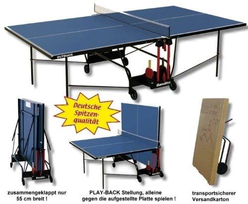 """Tischtennisplatte \""""Outdoor\"""",wetterfest, original Turniermaße, TÜV geprüft, unempfindlich gegen Feuchtigkeit und resistent gegen heiße Temperaturen und Sonneneinstrahlung."""