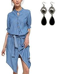 M-Queen Mujeres Casual Camisas Vestidos de Manga Larga Denim Camisetas de Mezclilla T Shirts Largo Túnica para 2016 Primavera