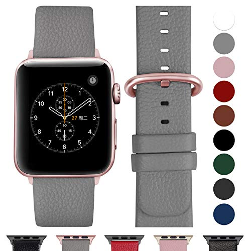 Fullmosa Ersatzband für Apple Watch Armband 42mm und 38mm, Echtes Leder Uhrenarmband für Iwatch Watch Series 3,2,1, Nike+ Hermes&Edition,38mm Grau+Roségold Schnalle