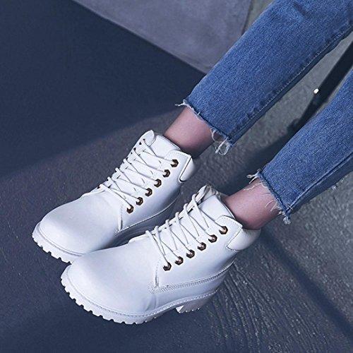Women Martin Boots Shoes, SOMESUN Delle signore delle donne Faux Stivaletti Stivali Casual Shoes Martin White