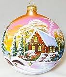 Gran Navidad paisaje de invierno hecho a mano bola de Navidad ornamento de cristal pintado...