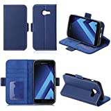 Samsung Galaxy A5 2017 : Housse Portefeuille luxe bleue Cuir Style avec stand - Etui bleu coque de protection Galaxy A5 2017 avec porte cartes - Accessoires pochette XEPTIO : Exceptional case !