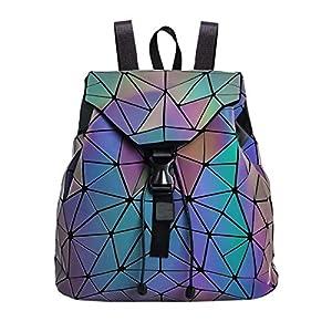51YbjygDJ6L. SS300  - Parnerme Mochila mochila geométrica Lingge Mujer Luminoso Flash Hombre Bolsa de viaje Mochila escolar, Hológrafo para mujer Moda para mujer Mochila monedero(colorful-1)