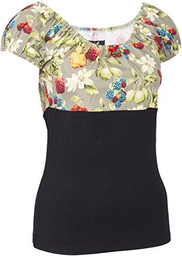 Küstenluder CRYSTA Retro Tropical Fruits Pineapple Shirt / BLUSE Rockabilly Schwarz mit Einsatz