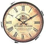 perla pd design Metall Wanduhr mit Glasscheibe Vintage Design Ponet Freres Farbe weiss lackiert ca. Ø 30 cm