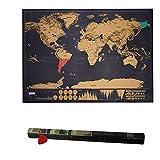 Scratch le Monde, HTINAC Carte du Monde à Gratter, Scratch Map Carte du monde avec Petite Raclette pour Grattez les Endroits que Vous Avez Visité - 83 x 60 cm - Noire - (L'édition de Deluxe)