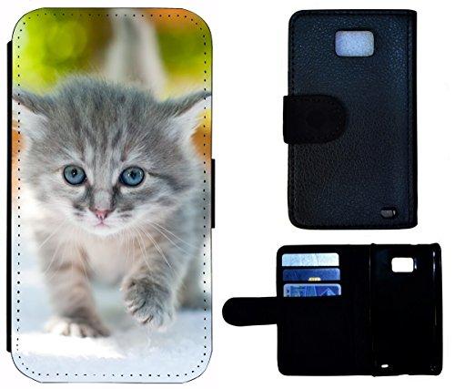 Flip Cover Schutz Hülle Handy Tasche Etui Case für (Apple iPhone 5 / 5s, 1588 Katze Kätzchen Katzenbaby Grau) 1588 Katze Kätzchen Katzenbaby Grau