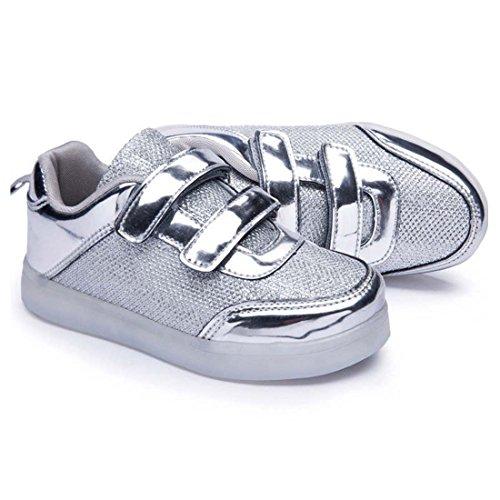 DorkasDE LED Schuhe Leuchtend Schuh USB Aufladen Sneakers Atmungsaktiv und bequem Turnschuhe brillant Stil Schuhe für Kinder Jungen Mädchen Silber