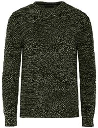 Brave Soul Neutron Designer Mens Jumper Twisted Fisherman Knit Crew Neck Sweater