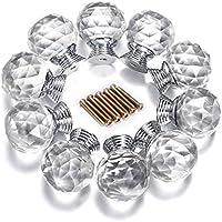 Yazer Confezione di 10 pomelli da 30 mm in vetro di alta qualità, taglio a diamante, per porte, cassetti o mobili, dotati di vite, per decorazioni fai da te, colore trasparente
