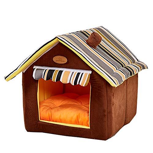 XGPT Hund Bed Pet Kissen Luxury Soft Warm Basket Welket Mat Große Kleine Comfy Vier Farben Soft Samt Und Leinwand,Brown,XL -