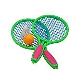 LIOOBO 1 Paar Kinder Tennisschläger Kinder Kunststoff Badmintonschläger Spiel Requisiten für Kindergarten Grundschule (Größe M Grün)