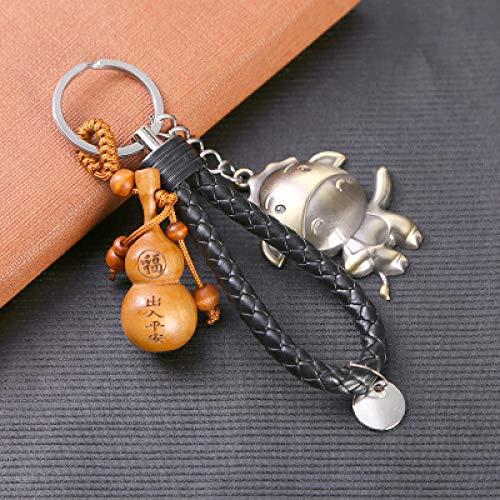 Tierkreis-Schlüssel-Legierungs-Anhänger 12 Tierkreis-Walnuss Keychain Kreatives Webart-Silber-Kalb -