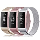 Gogoings Para Fitbit Charge 3 Correa - Pulsera de Reemplazo Ajustable Acero Inoxidable Banda Compatible con Fitbit Charge3 para Mujeres y Hombres (Sin Reloj) (Oro Rosa + Argentado + Champagne, S)
