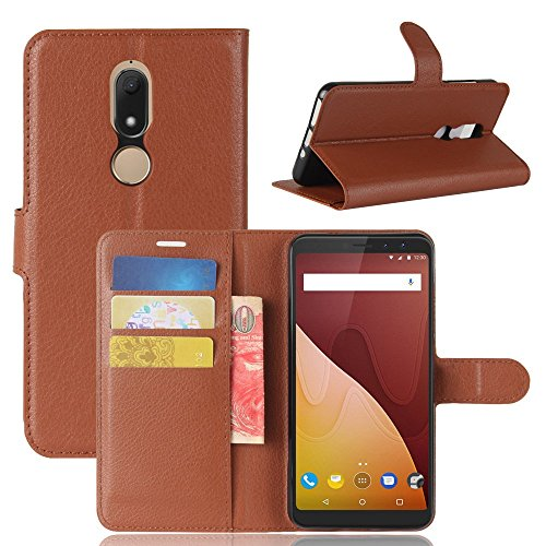 Tasche für Wiko View Prime Hülle, Ycloud PU Kunstleder Ledertasche Flip Cover Wallet Case Handyhülle mit Stand Function Credit Card Slots Bookstyle Purse Design braun - Prima Credit Card Case