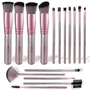 Brochas de Maquillaje, Abody 16 Piezas de Pinceles Maquillaje de Fibra Sintética para Las Cejas, Sombra de Ojos, Base de Maquillaje, Polvos, Crema con Bolsa Negra