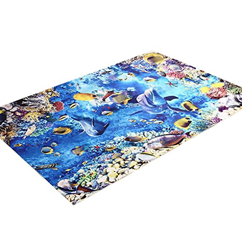 Meisijia 3D Coral Dolphin Printed Innen Fußmatte-Fuss-Auflage Badezimmer Antirutsch Teppiche WC Anti-Rutsch-Teppiche für Küche Flur - Badezimmer-teppiche Gedruckt