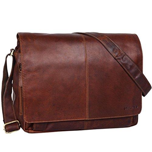 STILORD \'Alex\' Vintage Ledertasche Männer Frauen Businesstasche zum Umhängen 15,6 Zoll Laptoptasche Aktentasche Unitasche Umhängetasche Leder, Farbe:Cognac - Dunkelbraun