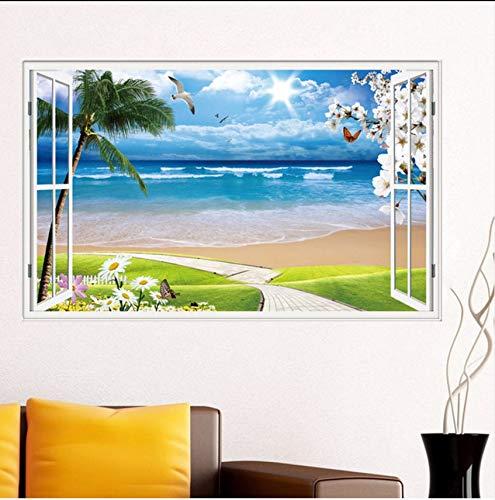 (Lvabc Sommer Strand Kokospalme 3D Fenster Ansicht Aufkleber Strand Thema Wandmalereien Abnehmbare Vinyl Aufkleber Für Wohnzimmer Wanddekor)