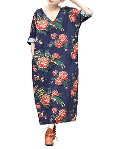 StyleDome Femme Vintage Robe Coton Lin Longue Col V Manches Courtes Casual Lâce Large Tunique Robe Maxi Marine