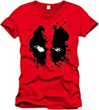 Marvel- Deadpool Splash Head T-Shirt, MEPOOLXTS007, (Rouge), Large (Taille Fabricant: L)