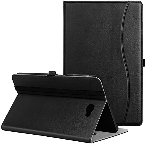 Ztotop Hülle für Samsung Galaxy Tab A 10,1,für Modell SM-T580/T585 (Keine S Pen-Version), Leder Geschäftshülle mit Ständer,Kartensteckplatz,Auto Schlaf/Aufwach Funktion,Mehrfachwinkel,Schwarz