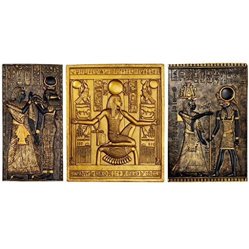 Design Toscano Ägyptische Tempelstelen Tutanchamun, Isis und Horus Wandkulturplaketten, Polyresin, zweifarbig Schwarz und Gold, 25 cm, 3er Set