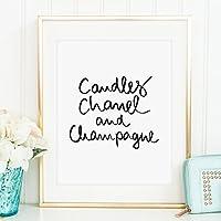 Kunstdruck, Sprüche Poster: Candles, Chanel and Champagne | Hochwertiges und festes Premiumpapier | Ohne Rahmen