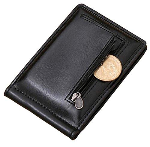 Geldbörse, Rcool Mini-Reißverschluss Leder Geld Clip Portemonnaie Credit Card ID Münzhalter (Schwarz) (Geld-clips Fossil)