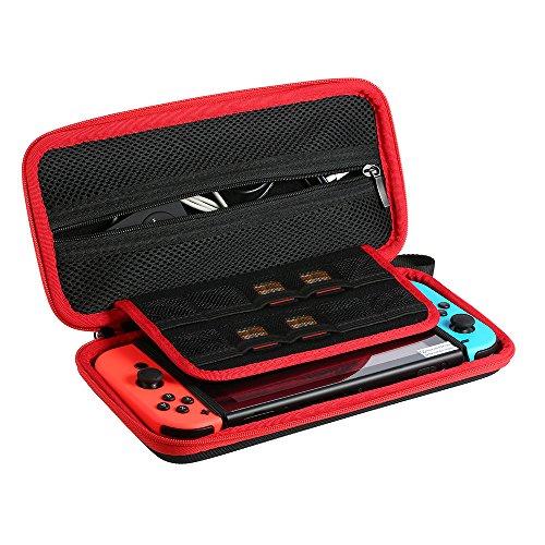 Funda para de Nintendo Switch-Ametoys Bolsa de Nylon Caso de Protección Estuche de Viaje Impermeable Bolsa con 10 Ranura de Tarjeta de Juego Titular y Bolsillo de Cremallera para de Nintendo Switch