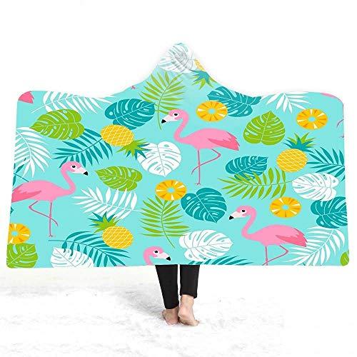 YongYeYaoBEN Vögel Hund Blumen Flamingo gedruckt warme Winter Plüsch tragbare Mantel Double-Layer Bathsea Beach gedruckt Kapuze Decke Kinder Kinder Erwachsener (Color : 15, Size : 200 * 150) (Double-layer-kapuze)