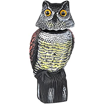 High Quality Popamazing Large Realistic Owl Decoy With Rotating Head  Bird/Pigeon/Seagull/Crow Scarers Plastic Bird Repeller Deterrent For Garden