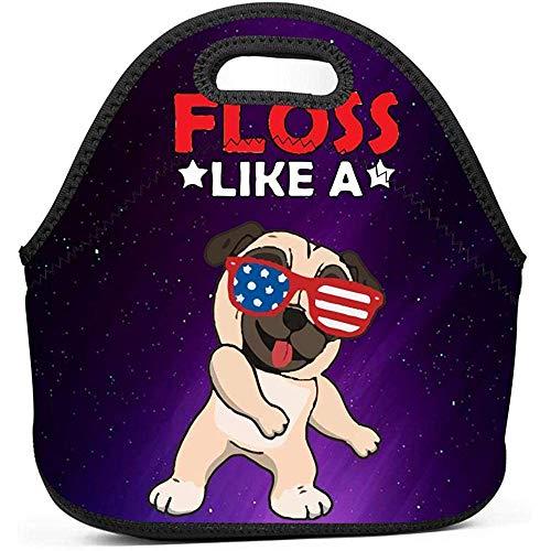 Zahnseide Tanz Hund Mittagessen Einkaufstasche Tragbare Lunchpakete Für Frauen Kinder Im Freien Schulbüro