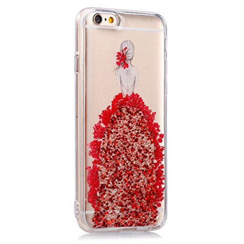 iPhone 6S Hülle,iPhone 6 Hülle,SainCat iPhone 6/6S Silikon Hülle Tasche Handyhülle Weiß Kirsche Blumen Muster Schutzhülle Transparent TPU Gel Case Bumper Weiche Crystal Kirstall Clear Silikonhülle Dur Echt Blumen-Rote
