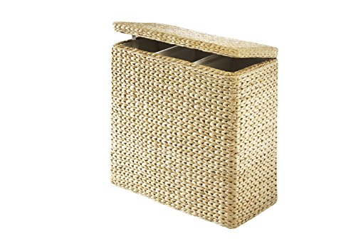 Kobolo Praktischer Wäschesortierer mit 3 Einteilungen aus Binse mit Textilinnenfutter -