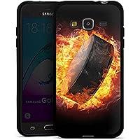 Samsung Galaxy J3 2016 Silikon Hülle Case Schutzhülle Eishockey Flammen Slapshot