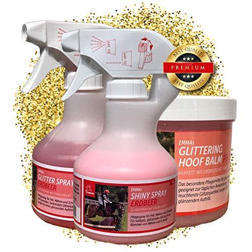 EMMA ♥ Pferdepflege - Set 3 teilig, Pferde Glitzerspray, Huffett in pink mit Duft & Glitzer, Mähnenspray für Fell, Mähne und Schweif Putzbox