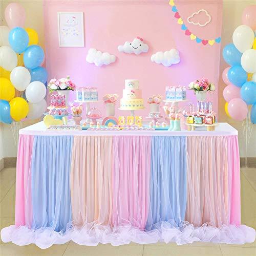 LinTimes Tüll Tischröcke 6ft Handgemachte Bunte Thread Ribbon Tischdekoration für Hochzeit, Party, Baby-Dusche