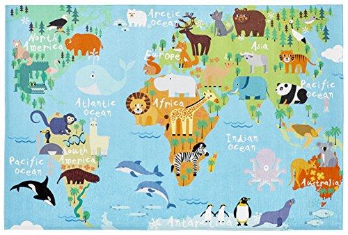 Flacher Kinderzimmer Teppich für das Kinderzimmer Print Bildteppich in satten Farben (080 x 120 cm,...