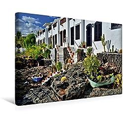 Calvendo Premium Textil-Leinwand 45 cm x 30 cm Quer, Lanzarote   Wandbild, Bild auf Keilrahmen, Fertigbild auf Echter Leinwand, Leinwanddruck: Beim Alten Hafen von Puerto Del Carmen Orte Orte