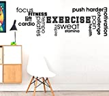 Mots d'exercice Pilates Focu Cardio la transpiration???Fitness Workout d'exercice pour loisir Sports murale Stikers, citation, Motivation Sticker mural Citation Autocollant Stickers muraux Art, Family Fun Citation Love Home