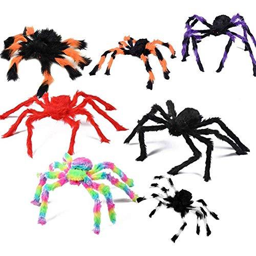 Reuvv Halloween Araña Decorativo Props Halloween Artificial con Peluche Plástico Arañas Chimenea...