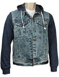 Zico Veste en jean avec capuche et manches en jersey pour homme