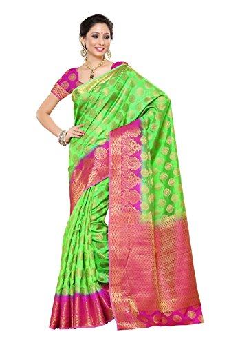 Mimosa Women's Tassar Silk Saree (177-Pgrn-Rni_Parrot Green)