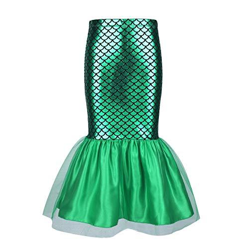 iiniim Kinder Mädchen Rock Glänzend Meerjungfrau Schwanz Röckchen Fasching Karneval Kostüm Cosplay Party Outfit Grün 110/5 Jahre (Mädchen Meerjungfrau-outfit Für)